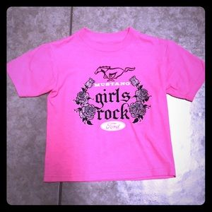 Ford Licensed Kids Girls Pink Mustang Rocks Shirt